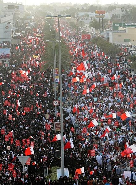 At least 100,000 people participated in one of the largest anti-government protests along Budaiya highway on 9 March March of 9 March by Korah 5.jpg