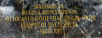 Margaret of Austria, Queen of Bohemia - Epitaph in Lilienfeld Abbey