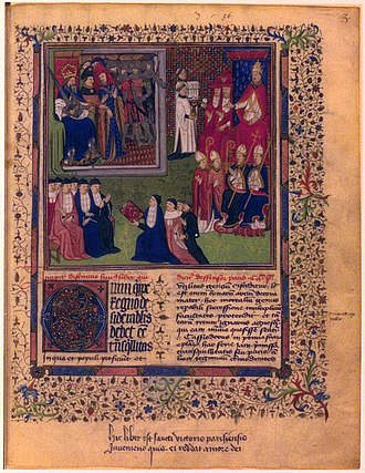 Marsilius of Padua - Miniature on the first page of a luxury manuscript of the Defensor pacis (15th century). Marsilius is shown presenting a copy to the Emperor