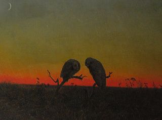 Two Owls at Sunset