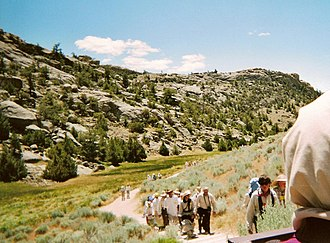 "Martin's Cove - LDS youth and leaders visit Martin's Cove on one of the popular ""Handcart Treks"""