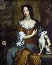 An informal portrait of Mary. She has a long handsome face, dark eyes and black hair. Her hair, her brown satin dress and plain linen undergarment are in fashionable disarray. She clasps a white dog.