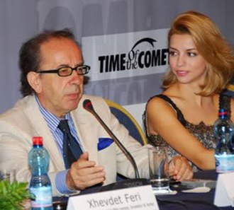 Masiela Lusha - Lusha with poet laureate Ismail Kadare during a press conference for the film Time of the Comet