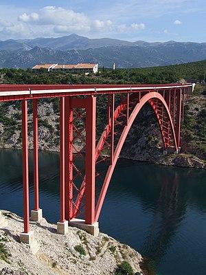 """""""Old'"""" Maslenica Bridge over strait Novsko ždrilo, Croatia."""