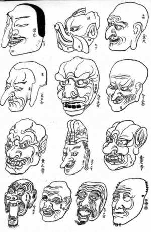 Gigaku - Gigaku masks from Horyuji temple