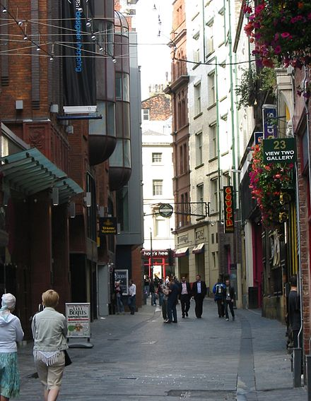 Mathew Street is one of many tourist attractions related to the Beatles, and the location of Europe's largest annual free music festival. Mathew Street Liverpool.jpg