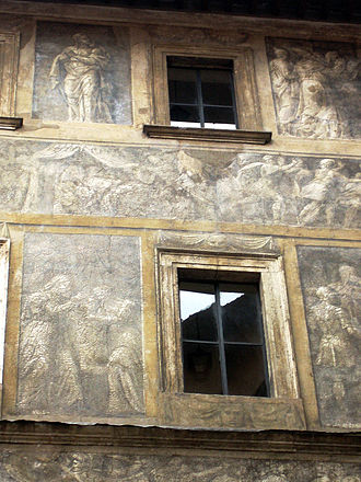 Sgraffito - Palazzo Massimo Istoriato: a fading palace facade in Rome by Polidoro da Caravaggio and Maturino da Firenze, 1523.