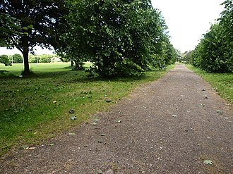 Mayfield Park, Bristol - The central path across the park, with the pitches of Whitehall RFC in the background