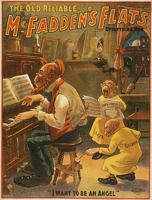 Gus Hill - Poster for McFadden's Flats (1902), based on a series from  The Yellow Kid