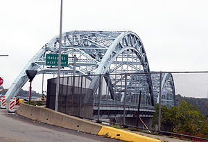 "McKees Rocks Bridge - The McKees Rocks Bridge from Island Avenue in McKees Rocks, Pennsylvania.  This stretch of the bridge was the successor to the O'Donovan Bridge, which ran from Island Avenue to the ""Bottoms"" of McKees Rocks from 1904 to 1931."