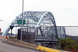 "McKees Rocks Bridge - The McKees Rocks Bridge from Island Avenue in McKees Rocks, Pennsylvania.  This stretch of the bridge was the successor to the O'Donovan Bridge, which ran from Island Avenue to the ""Bottoms"" of McKees Rocks from 1904 to 1931."
