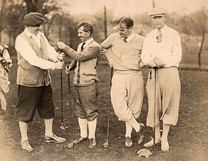 James J. Montague - Members of the Knot-Very Social and Musical Frat prepare to play golf in the 1910s. Among them is James J. Montague, second from left.