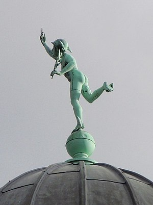 Pavilion Theatre, Torquay - One of the figures of Mercury on a side-dome