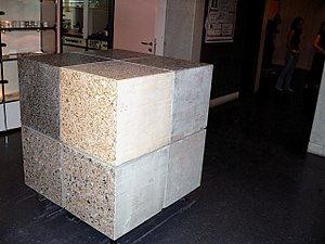 Cubic metre - One cubic metre of concrete (representing the world annual production per inhabitant)