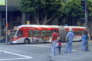 Metro Rapid - Metro Rapid articulated bus in downtown Los Angeles