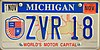 Michigan 2007 World's Motor Capital License Plate.jpg