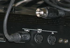 MIDI - MIDI connectors and a MIDI cable.