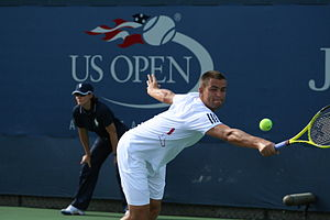 Mikhail Youzhny - Youzhny in his third round match against John Isner at the 2010 US Open. He would go on to win the match in three sets