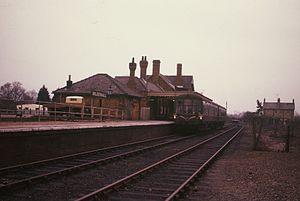 Cambridge to Mildenhall railway - Mildenhall station with diesel train in 1962