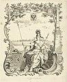 Minerva met pedelstaf voor universiteitsstad Harderwijk. Titelpagina van sedert 1756 in Harderwijk gepubliceerde proefschriften, RP-P-1907-4134.jpg