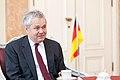 Ministru prezidents Valdis Dombrovskis tiekas ar Vācijas vēstnieku Latvijā Dr. Klausu Burkhardu (7452787628).jpg