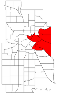 Location of University within the U.S. city of Minneapolis