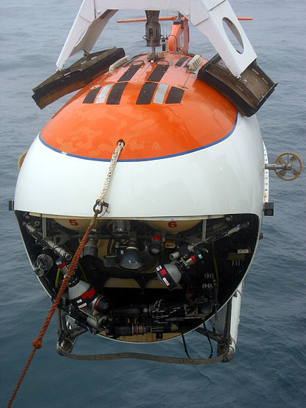 MIR submersible, one of the two vehicles that were used in the first ever manned descent to the seabed under the North Pole Mir front.jpg