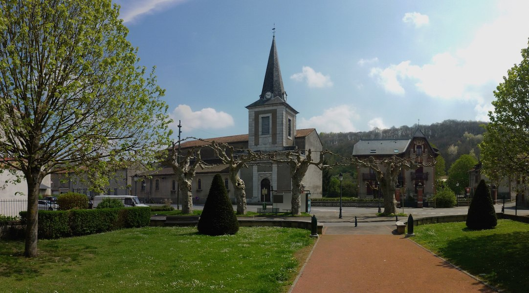 Miramont de Comminges, Haute-Garonne, France - Church and mother & child care center.