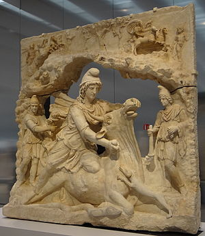 Jesus in comparative mythology - Ancient Roman sculpture showing Mithras slaying the bull, currently held in the Louvre-Lens (circa late third century CE)