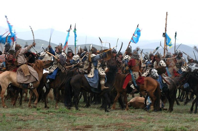 Mock Mongolian battle at Khaan Quest 07.jpg