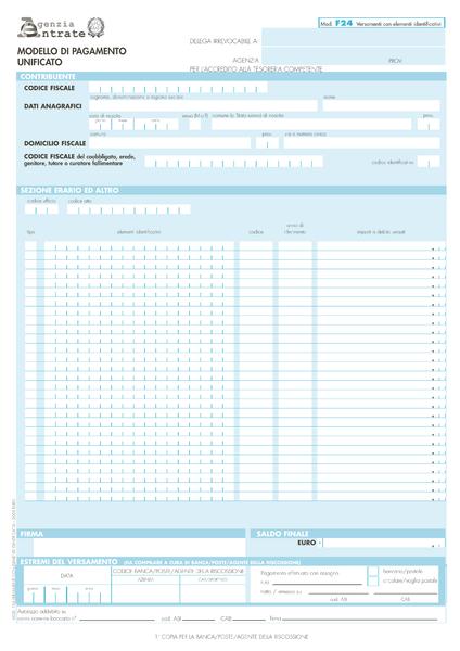 modello f24 versamenti con elementi identificativi da