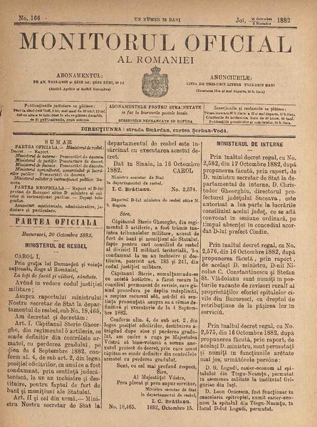 File:Monitorul Oficial al României 1882-10-21, nr. 166.pdf