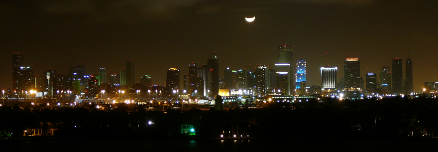 "View of the ""Moon over Miami"", a famous phrase that has inspired many pop culture items, including a movie, TV series, and song Moon over Miami.png"