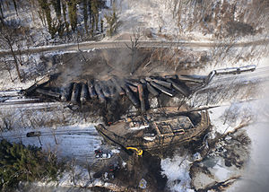 2015 Mount Carbon train derailment - The accident site on February 18, 2015.