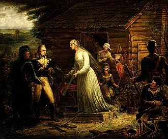 Siege of Fort Motte - Mrs. Motte Directing Generals Marion and Lee to Burn Her Mansion, by John Blake White (painted before 1859)