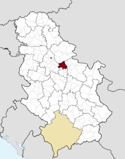 Location of the municipality of Smederevo within Serbia