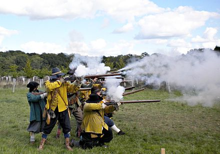 A historical civil war re-enactment Musket volley by Sealed Knot.JPG