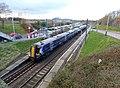 Musselburgh railway station, East Lothian - train west for Edinburgh.jpg