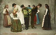Finnish folk dancers in a 1907 postcard sent from Mustamäki, Finland