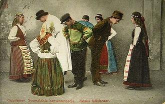 Culture of Finland - Finnish folk dancers in a 1907 postcard sent from Mustamäki, Finland