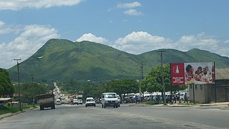 Sakubva - Mutare Chimanimani road looking south with Sakubva on the right.