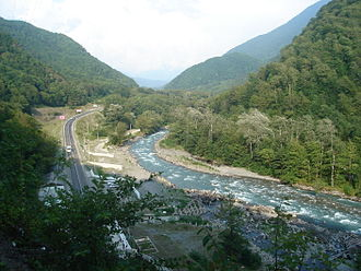 Mzymta River - Mzymta from Maidens' Eyewater waterfall