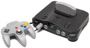 English: A Nintendo 64 video game console show...
