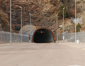 Bunker - The north entrance to the Cheyenne Mountain Complex in Colorado, USA