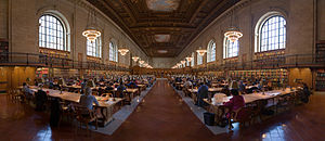 Davis Brody Bond - A panoramic view of the New York Public Library Rose Main Reading Room, facing south