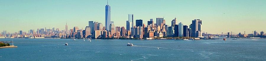 New York vue depuis la statue de la Liberté.