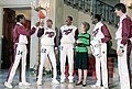 Nancy Reagan During a Photo Op. with The Shooting Stars Basketball Team Meadowlark Lemon Curley Neal and Pete Maravich in The Cross Hall.jpg