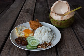 Nasi lemak - Nasi lemak with fried chicken and egg
