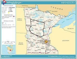 Central Minnesota - Nationalatlas.gov image with outline of region generally defined as central Minnesota