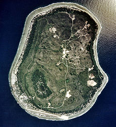 An aerial image of Nauru in 2002 from the U.S. Department of Energy's Atmospheric Radiation Measurement Program. Regenerated vegetation covers 63% of land that was mined.